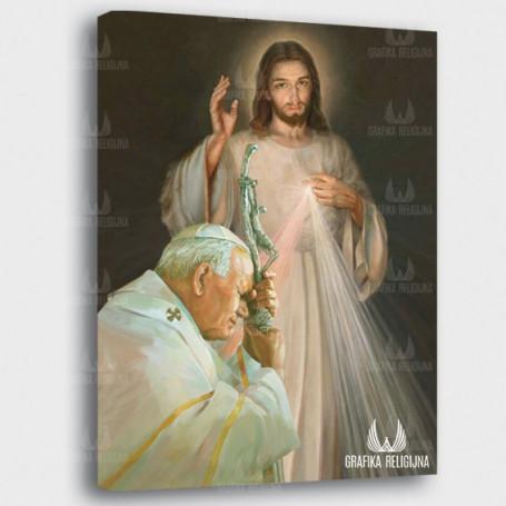 Obraz na płótnie - Jezus Miłosierny i Jan Paweł II