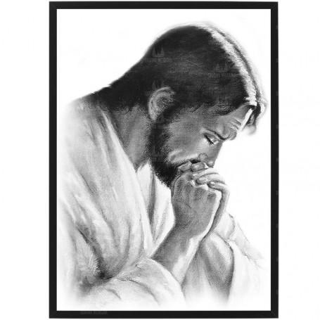 Pan Jezus modlący się 1 - obraz na płótnie w ramie