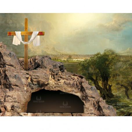 Baner, dekoracja kościoła - Tło do Grobu Pańskiego wzór 04